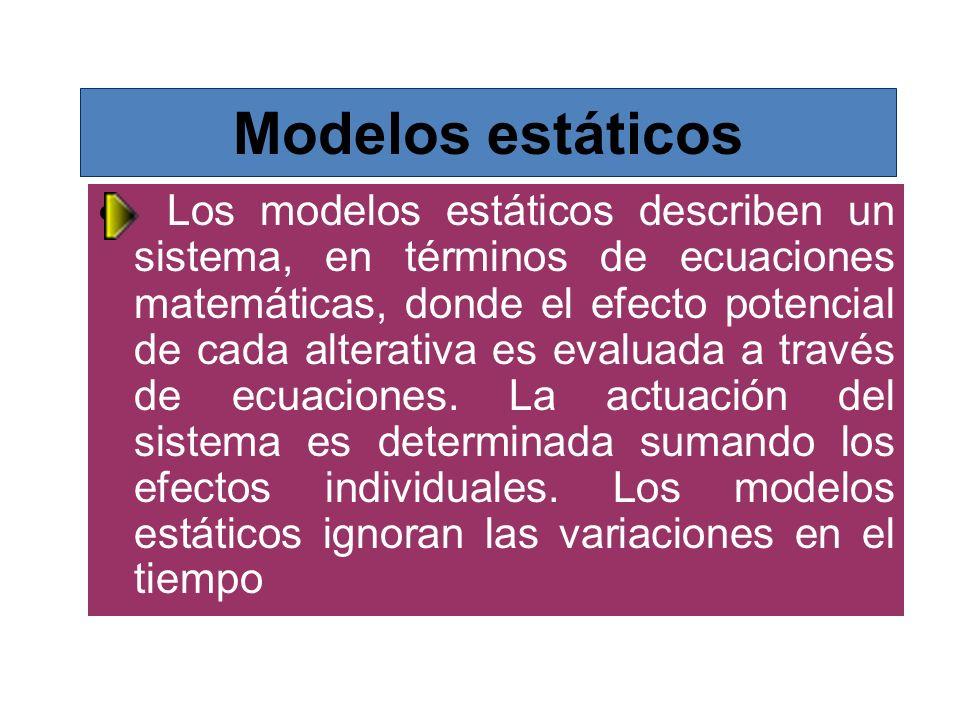 Modelos estáticos Los modelos estáticos describen un sistema, en términos de ecuaciones matemáticas, donde el efecto potencial de cada alterativa es e
