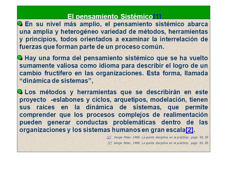 El pensamiento Sistémico[1][1] En su nivel más amplio, el pensamiento sistémico abarca una amplia y heterogéneo variedad de métodos, herramientas y pr