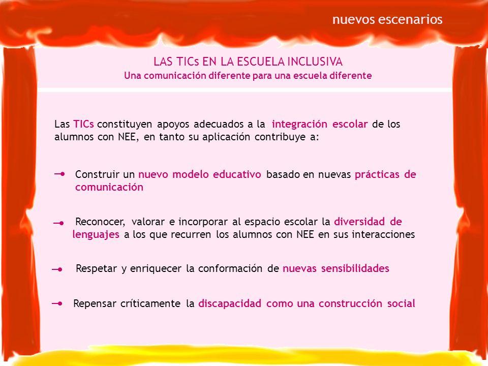 Las TICs constituyen apoyos adecuados a la integración escolar de los alumnos con NEE, en tanto su aplicación contribuye a: LAS TICs EN LA ESCUELA INC