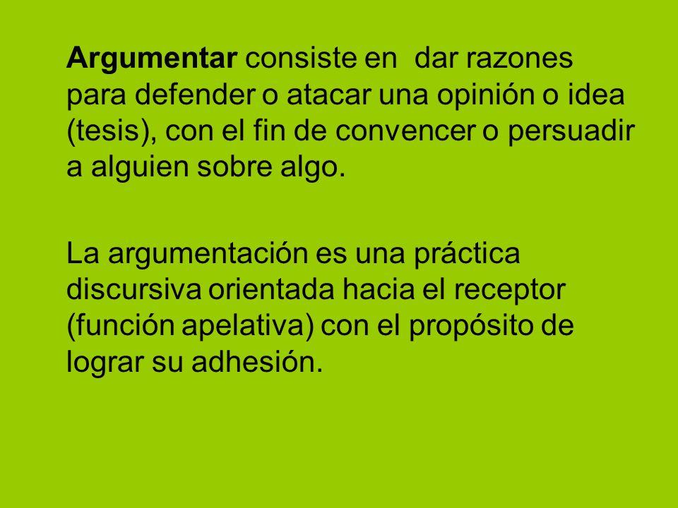 Argumentar consiste en dar razones para defender o atacar una opinión o idea (tesis), con el fin de convencer o persuadir a alguien sobre algo. La arg