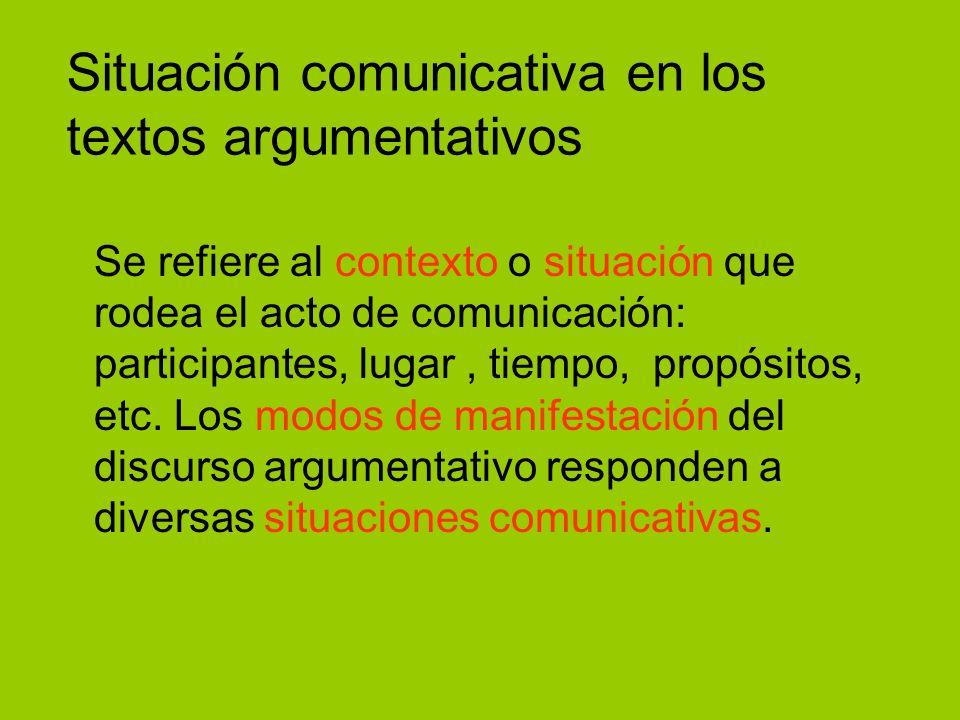 Situación comunicativa en los textos argumentativos Se refiere al contexto o situación que rodea el acto de comunicación: participantes, lugar, tiempo, propósitos, etc.