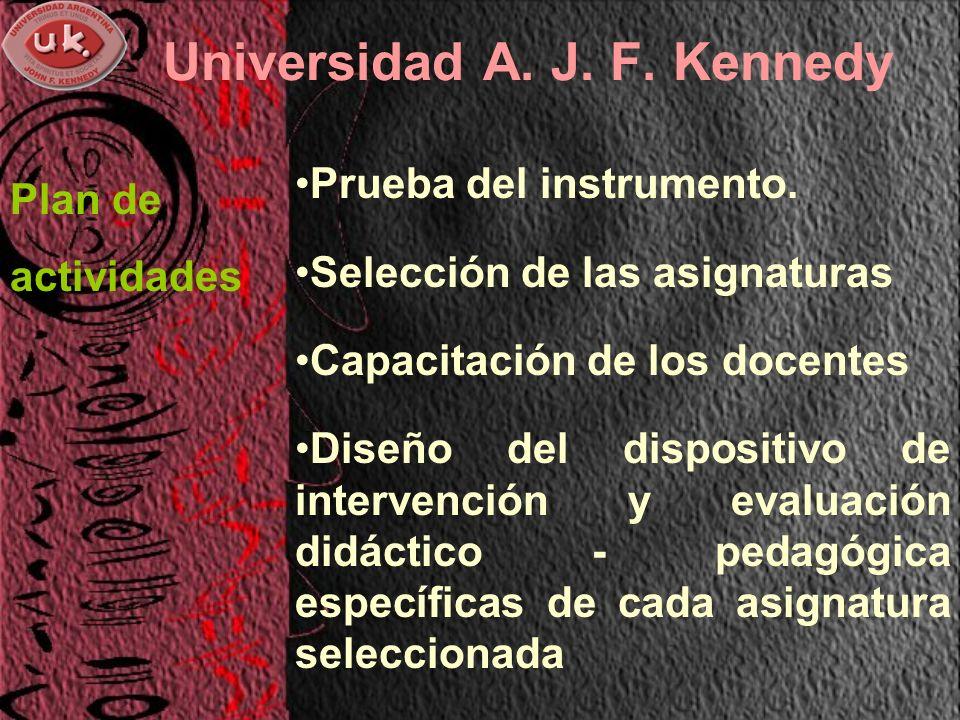 Universidad A. J. F. Kennedy Prueba del instrumento.