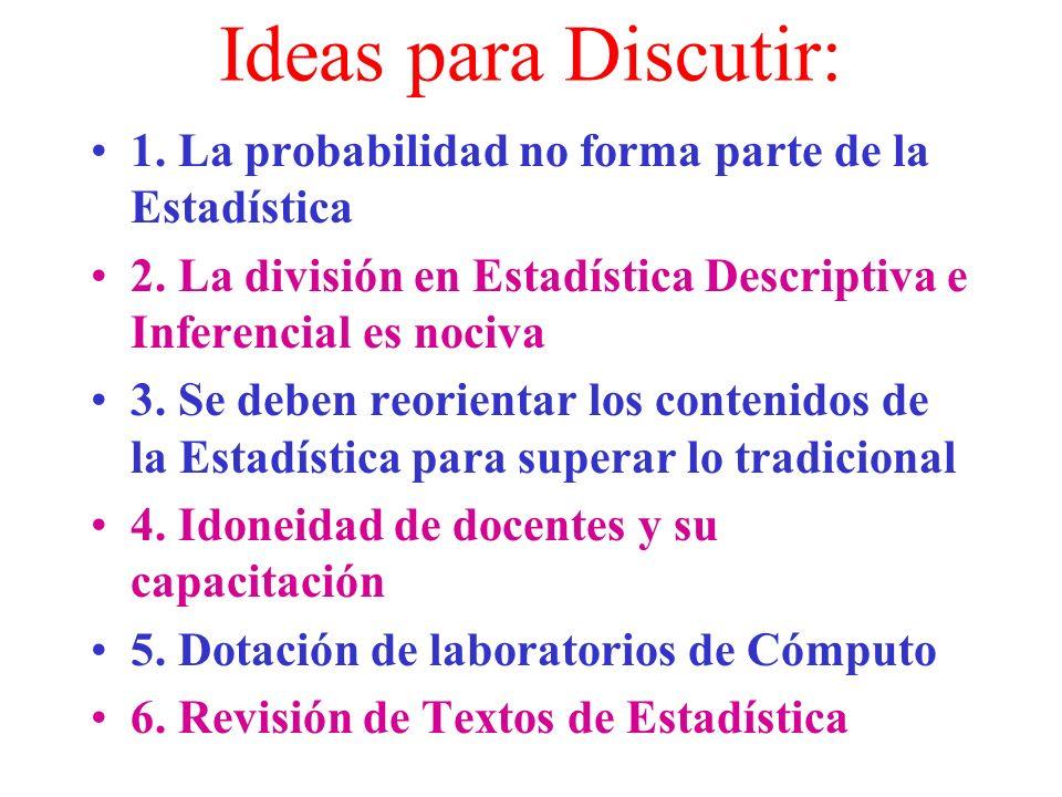 ALGUNAS IDEAS ACERCA DE LA ENSEÑANZA DE LA ESTADISTICA