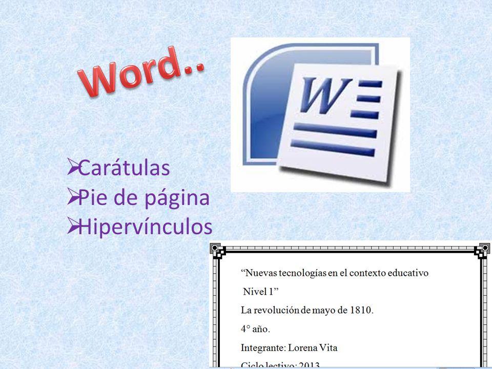 Carátulas Pie de página Hipervínculos