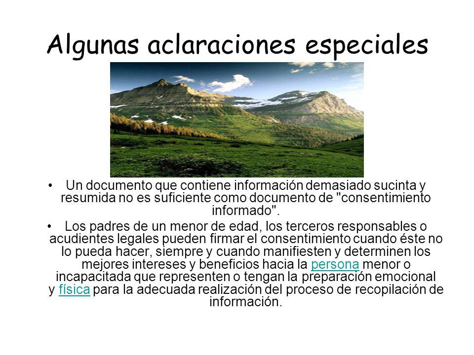 Algunas aclaraciones especiales Un documento que contiene información demasiado sucinta y resumida no es suficiente como documento de