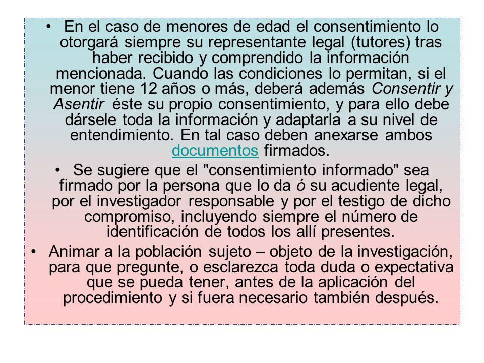En el caso de menores de edad el consentimiento lo otorgará siempre su representante legal (tutores) tras haber recibido y comprendido la información