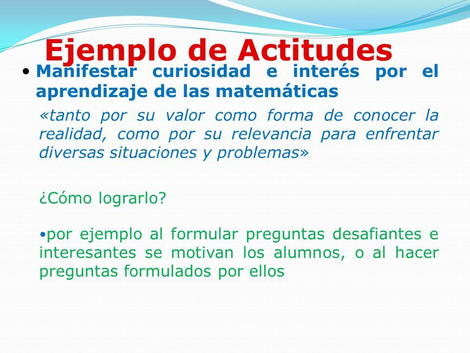 Ejemplo de Actitudes Manifestar curiosidad e interés por el aprendizaje de las matemáticas «tanto por su valor como forma de conocer la realidad, como