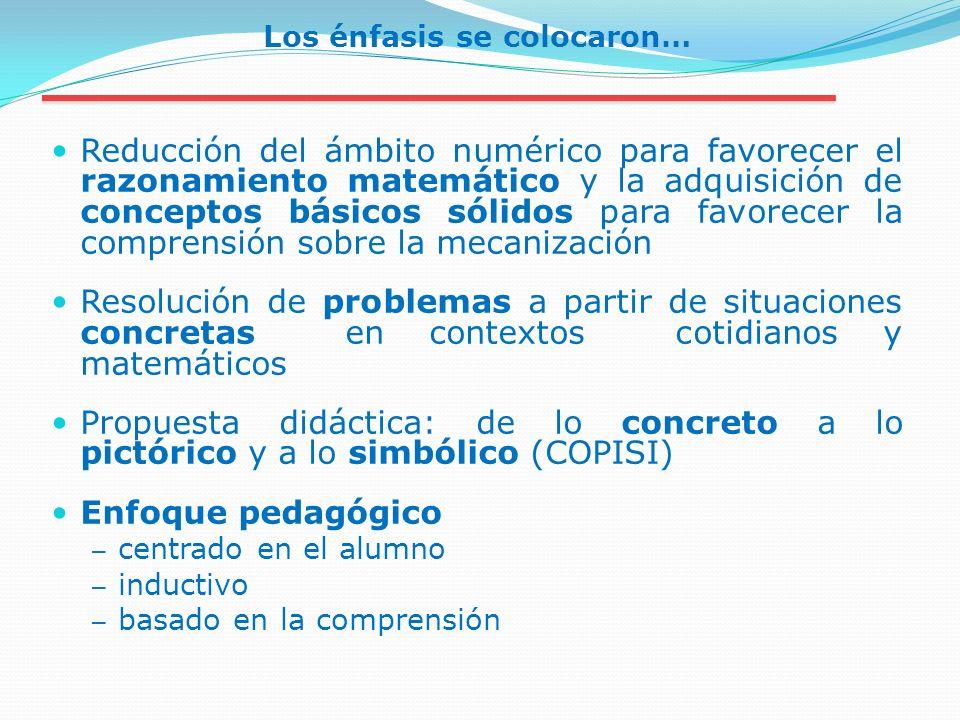 Los énfasis se colocaron… Reducción del ámbito numérico para favorecer el razonamiento matemático y la adquisición de conceptos básicos sólidos para f