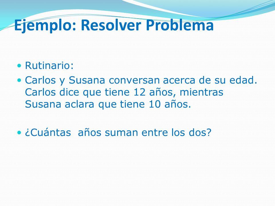 Ejemplo: Resolver Problema Rutinario: Carlos y Susana conversan acerca de su edad. Carlos dice que tiene 12 años, mientras Susana aclara que tiene 10