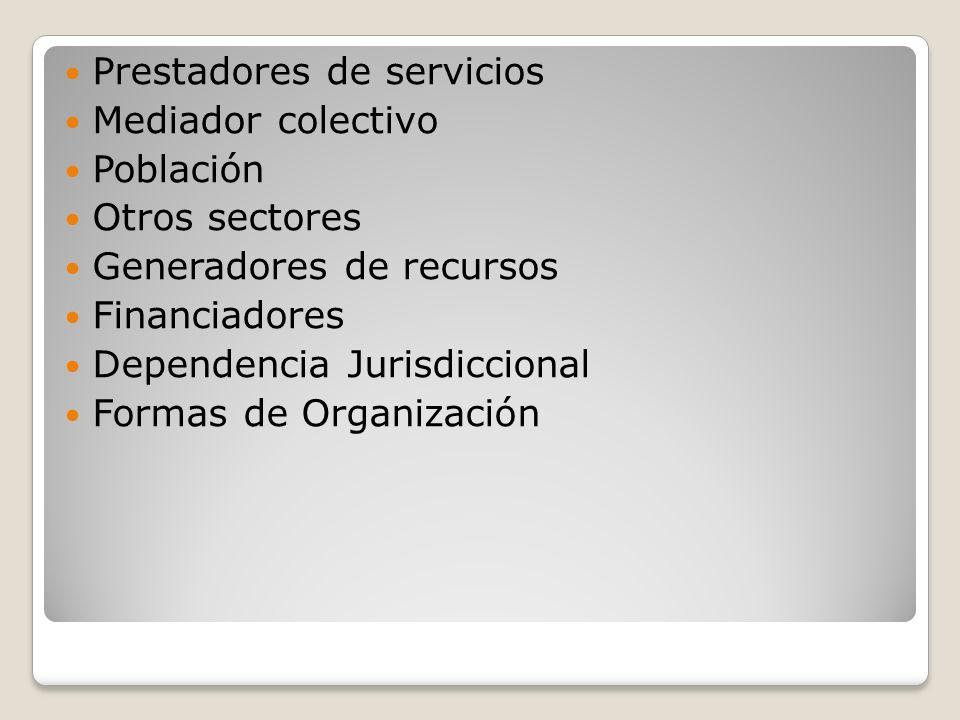 Prestadores de servicios Mediador colectivo Población Otros sectores Generadores de recursos Financiadores Dependencia Jurisdiccional Formas de Organi