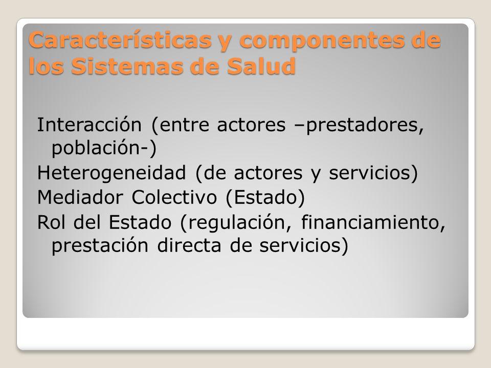 Características y componentes de los Sistemas de Salud Interacción (entre actores –prestadores, población-) Heterogeneidad (de actores y servicios) Me