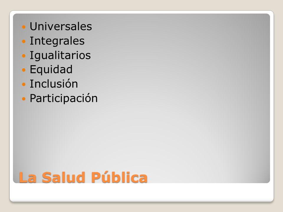La Salud Pública Universales Integrales Igualitarios Equidad Inclusión Participación