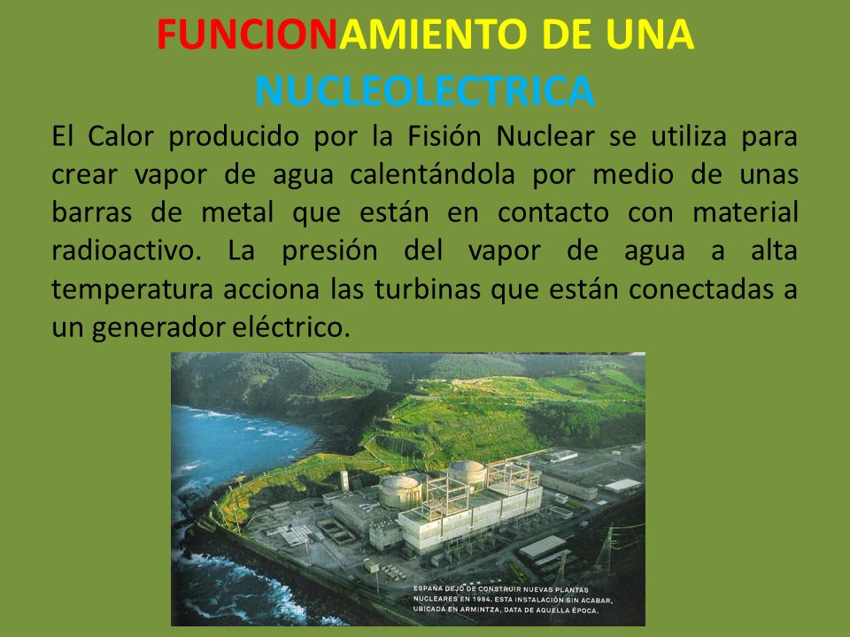 FUNCIONAMIENTO DE UNA NUCLEOLECTRICA El Calor producido por la Fisión Nuclear se utiliza para crear vapor de agua calentándola por medio de unas barra