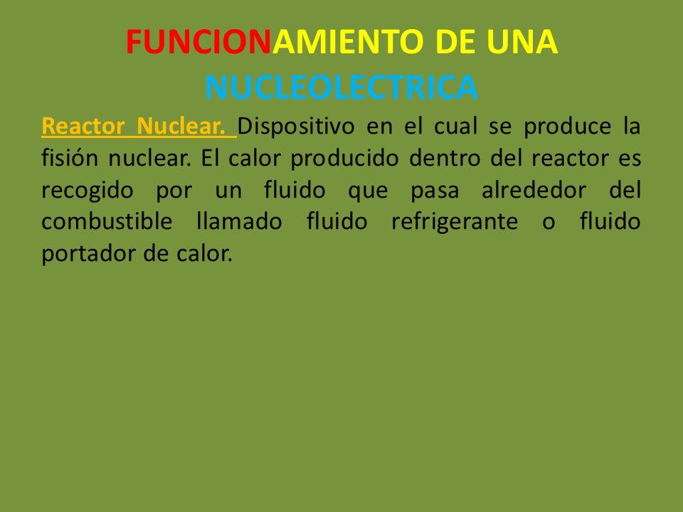 FUNCIONAMIENTO DE UNA NUCLEOLECTRICA Reactor Nuclear. Dispositivo en el cual se produce la fisión nuclear. El calor producido dentro del reactor es re