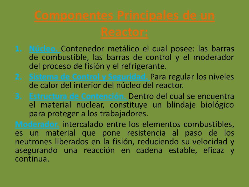 Componentes Principales de un Reactor: 1.Núcleo. Contenedor metálico el cual posee: las barras de combustible, las barras de control y el moderador de
