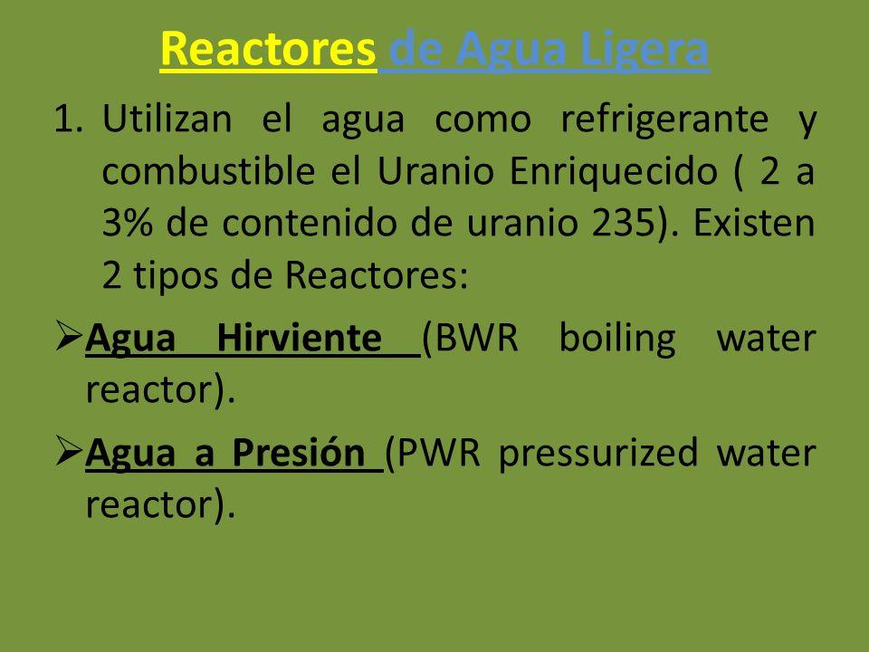 Reactores de Agua Ligera 1.Utilizan el agua como refrigerante y combustible el Uranio Enriquecido ( 2 a 3% de contenido de uranio 235). Existen 2 tipo