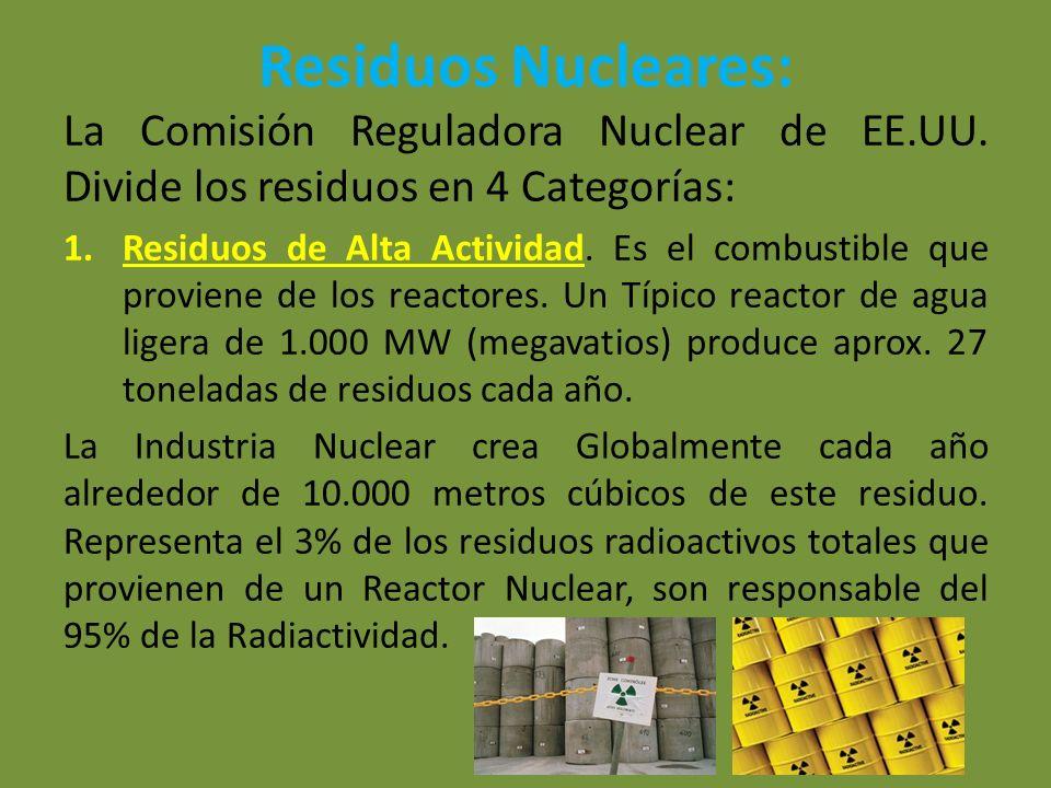 Residuos Nucleares: La Comisión Reguladora Nuclear de EE.UU. Divide los residuos en 4 Categorías: 1.Residuos de Alta Actividad. Es el combustible que