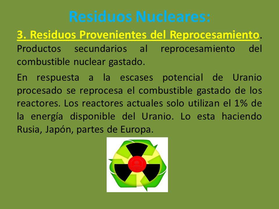 Residuos Nucleares: 3. Residuos Provenientes del Reprocesamiento. Productos secundarios al reprocesamiento del combustible nuclear gastado. En respues