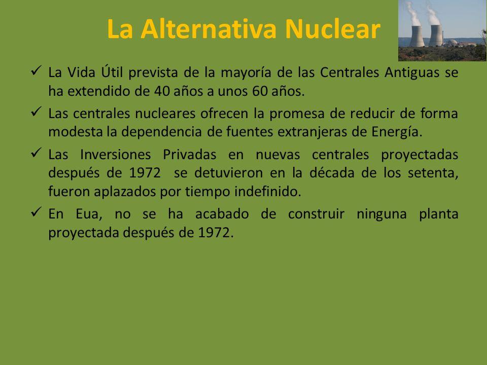 La Alternativa Nuclear La Vida Útil prevista de la mayoría de las Centrales Antiguas se ha extendido de 40 años a unos 60 años. Las centrales nucleare