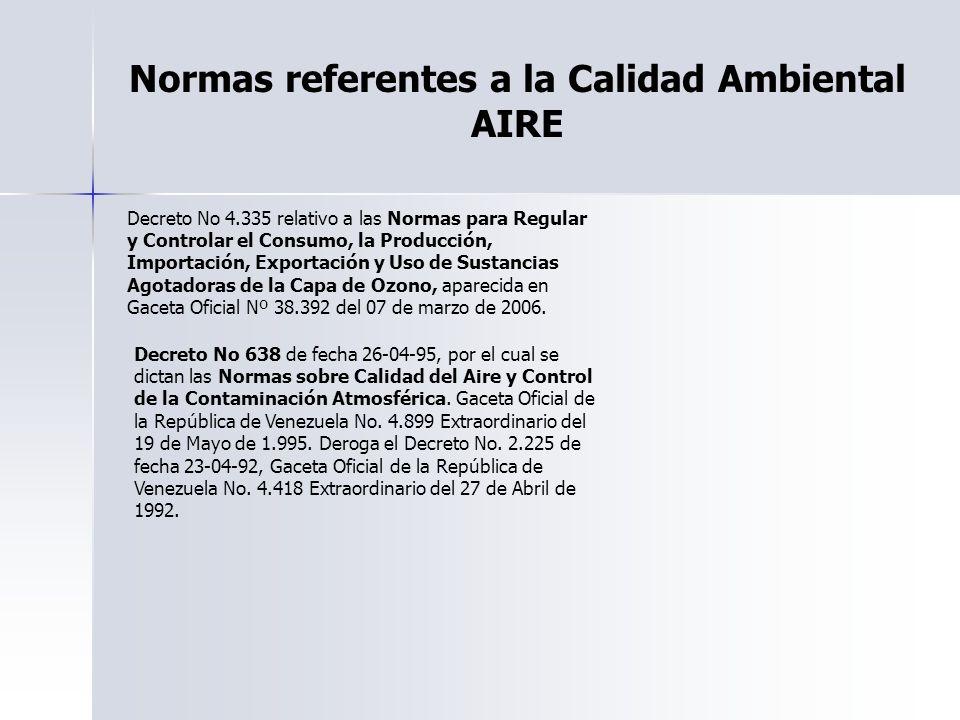 Normas referentes a la Calidad Ambiental AIRE Decreto No 4.335 relativo a las Normas para Regular y Controlar el Consumo, la Producción, Importación,