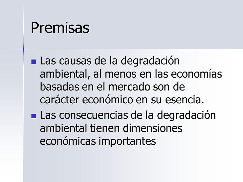 Premisas Las causas de la degradación ambiental, al menos en las economías basadas en el mercado son de carácter económico en su esencia. Las causas d