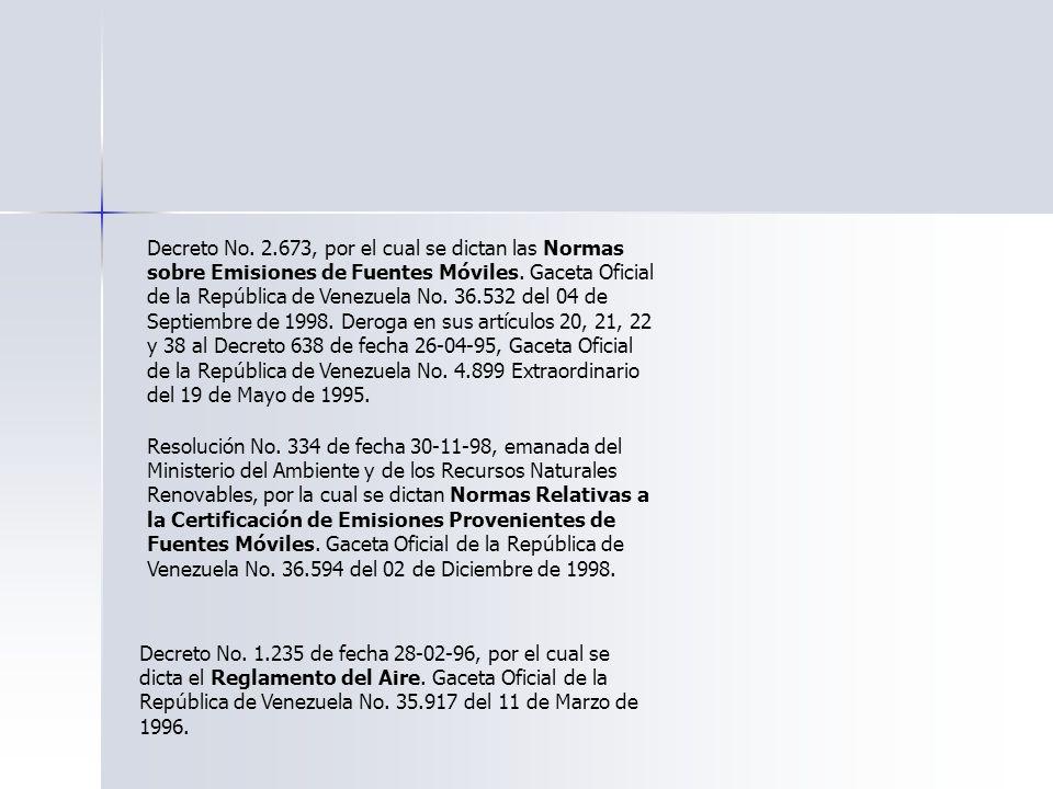 Decreto No. 2.673, por el cual se dictan las Normas sobre Emisiones de Fuentes Móviles. Gaceta Oficial de la República de Venezuela No. 36.532 del 04