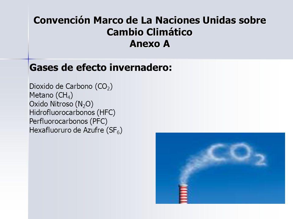 Convención Marco de La Naciones Unidas sobre Cambio Climático Anexo A Gases de efecto invernadero: Dioxido de Carbono (CO 2 ) Metano (CH 4 ) Oxido Nit