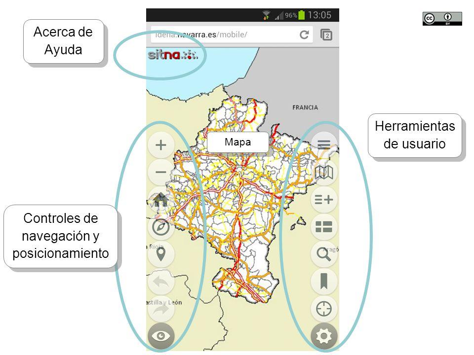 TALLER SITNA PARA MÓVILES SITNA en tu móvil Controles de navegación y posicionamiento Herramientas de usuario Acerca de Ayuda Acerca de Ayuda Mapa