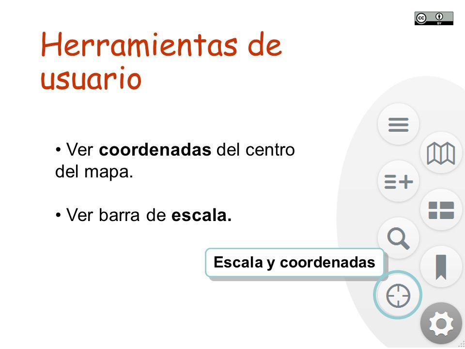TALLER SITNA PARA MÓVILES SITNA en tu móvil Ver coordenadas del centro del mapa. Ver barra de escala. Escala y coordenadas Herramientas de usuario