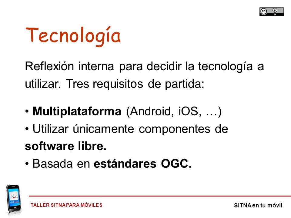 TALLER SITNA PARA MÓVILES SITNA en tu móvil Tecnología Multiplataforma (Android, iOS, …) Utilizar únicamente componentes de software libre. Basada en