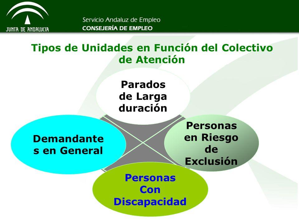 Tipos de Unidades en Función del Colectivo de Atención Demandante s en General Personas en Riesgo de Exclusión Personas Con Discapacidad Parados de La