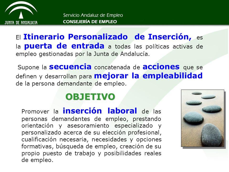 El Itinerario Personalizado de Inserción, es la puerta de entrada a todas las políticas activas de empleo gestionadas por la Junta de Andalucía. Supon