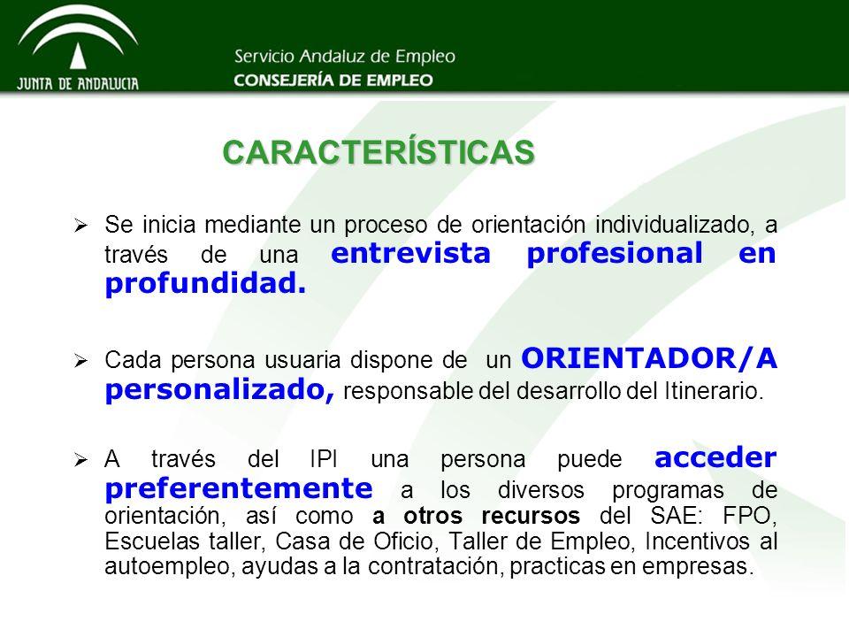 CARACTERÍSTICAS Se inicia mediante un proceso de orientación individualizado, a través de una entrevista profesional en profundidad. Cada persona usua