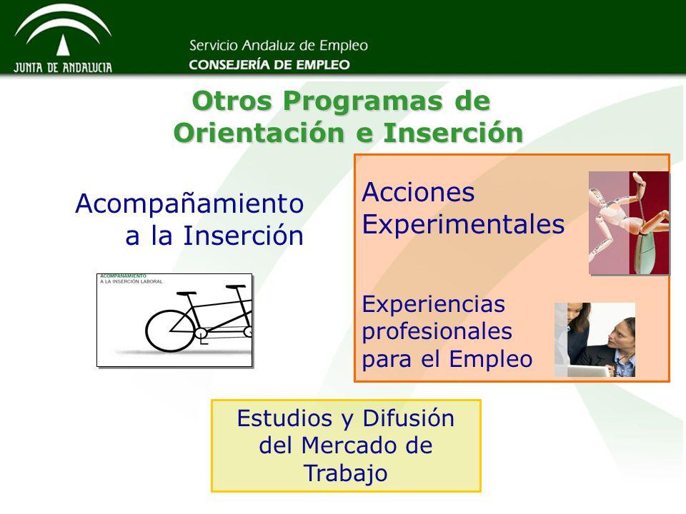 Otros Programas de Orientación e Inserción Otros Programas de Orientación e Inserción Experiencias profesionales para el Empleo Acciones Experimentale