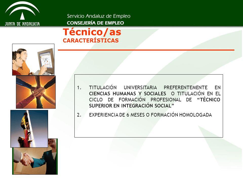 Técnico/as CARACTERÍSTICAS 1.TITULACIÓN UNIVERSITARIA PREFERENTEMENTE EN CIENCIAS HUMANAS Y SOCIALES O TITULACIÓN EN EL CICLO DE FORMACIÓN PROFESIONAL DE TÉCNICO SUPERIOR EN INTEGRACIÓN SOCIAL 2.EXPERIENCIA DE 6 MESES O FORMACIÓN HOMOLOGADA