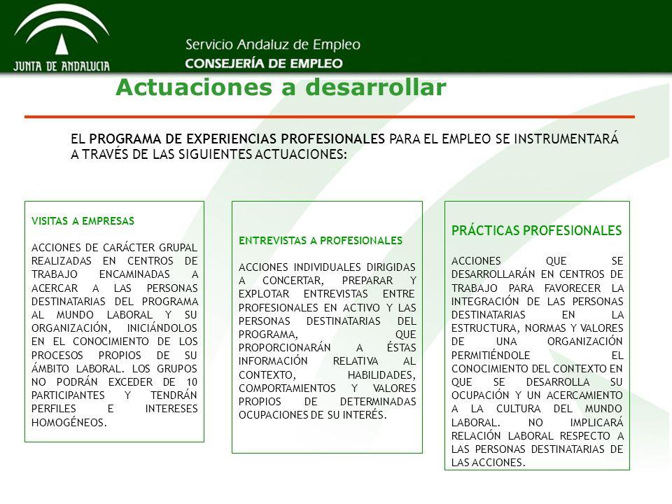 Actuaciones a desarrollar EL PROGRAMA DE EXPERIENCIAS PROFESIONALES PARA EL EMPLEO SE INSTRUMENTARÁ A TRAVÉS DE LAS SIGUIENTES ACTUACIONES: VISITAS A EMPRESAS ACCIONES DE CARÁCTER GRUPAL REALIZADAS EN CENTROS DE TRABAJO ENCAMINADAS A ACERCAR A LAS PERSONAS DESTINATARIAS DEL PROGRAMA AL MUNDO LABORAL Y SU ORGANIZACIÓN, INICIÁNDOLOS EN EL CONOCIMIENTO DE LOS PROCESOS PROPIOS DE SU ÁMBITO LABORAL.