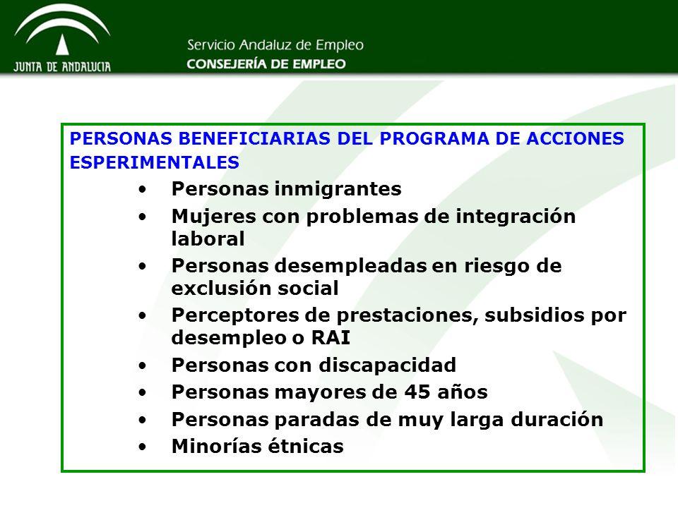 PERSONAS BENEFICIARIAS DEL PROGRAMA DE ACCIONES ESPERIMENTALES Personas inmigrantes Mujeres con problemas de integración laboral Personas desempleadas