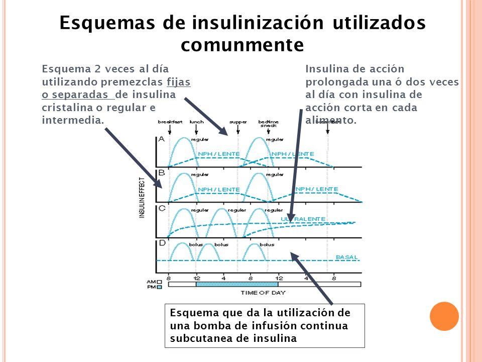 Esquema 2 veces al día utilizando premezclas fijas o separadas de insulina cristalina o regular e intermedia. Insulina de acción prolongada una ó dos