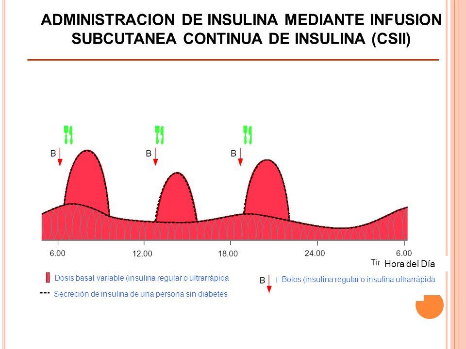 Diapositiva 19 ADMINISTRACION DE INSULINA MEDIANTE INFUSION SUBCUTANEA CONTINUA DE INSULINA (CSII) Hora del Día Secreción de insulina de una persona sin diabetes Bolos (insulina regular o insulina ultrarrápida Dosis basal variable (insulina regular o ultrarrápida