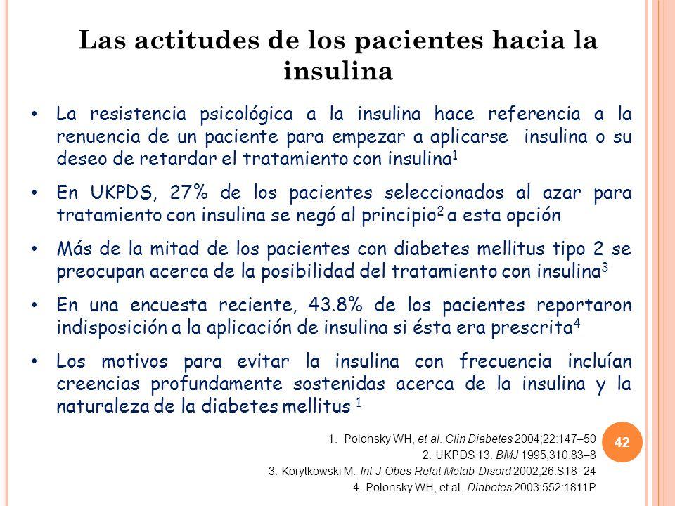 42 Las actitudes de los pacientes hacia la insulina La resistencia psicológica a la insulina hace referencia a la renuencia de un paciente para empezar a aplicarse insulina o su deseo de retardar el tratamiento con insulina 1 En UKPDS, 27% de los pacientes seleccionados al azar para tratamiento con insulina se negó al principio 2 a esta opción Más de la mitad de los pacientes con diabetes mellitus tipo 2 se preocupan acerca de la posibilidad del tratamiento con insulina 3 En una encuesta reciente, 43.8% de los pacientes reportaron indisposición a la aplicación de insulina si ésta era prescrita 4 Los motivos para evitar la insulina con frecuencia incluían creencias profundamente sostenidas acerca de la insulina y la naturaleza de la diabetes mellitus 1 1.