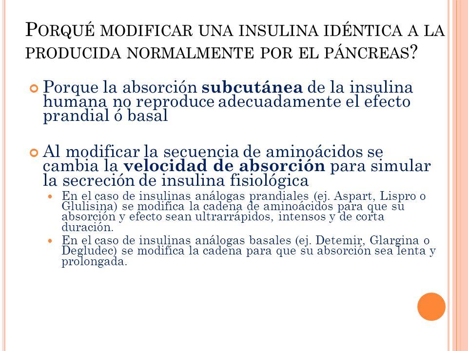 P ORQUÉ MODIFICAR UNA INSULINA IDÉNTICA A LA PRODUCIDA NORMALMENTE POR EL PÁNCREAS ? Porque la absorción subcutánea de la insulina humana no reproduce