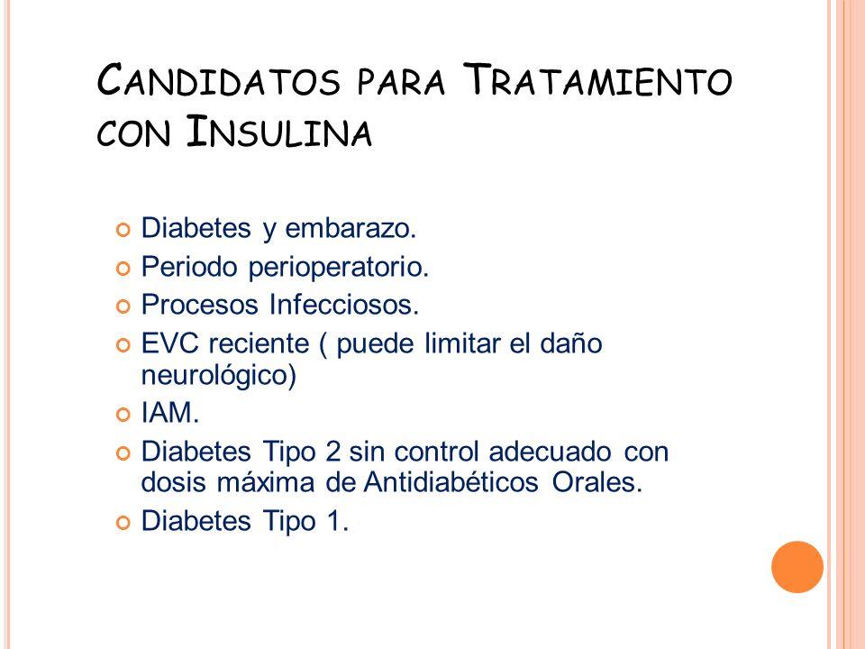 C ANDIDATOS PARA T RATAMIENTO CON I NSULINA Diabetes y embarazo. Periodo perioperatorio. Procesos Infecciosos. EVC reciente ( puede limitar el daño ne