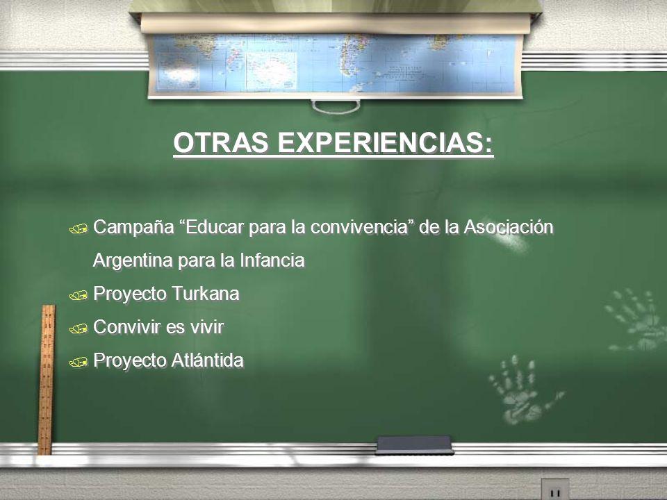 OTRAS EXPERIENCIAS: Campaña Educar para la convivencia de la Asociación Argentina para la Infancia Proyecto Turkana Convivir es vivir Proyecto Atlánti
