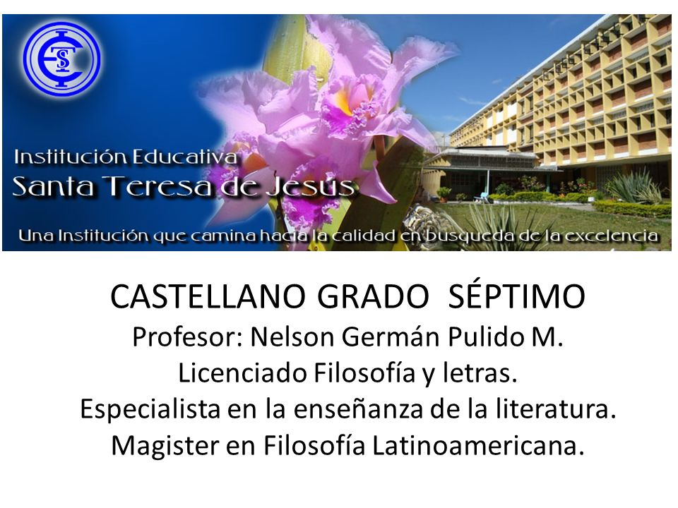 CASTELLANO GRADO SÉPTIMO Profesor: Nelson Germán Pulido M. Licenciado Filosofía y letras. Especialista en la enseñanza de la literatura. Magister en F