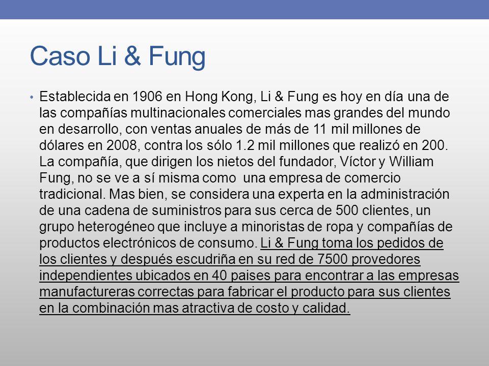 Caso Li & Fung Establecida en 1906 en Hong Kong, Li & Fung es hoy en día una de las compañías multinacionales comerciales mas grandes del mundo en des