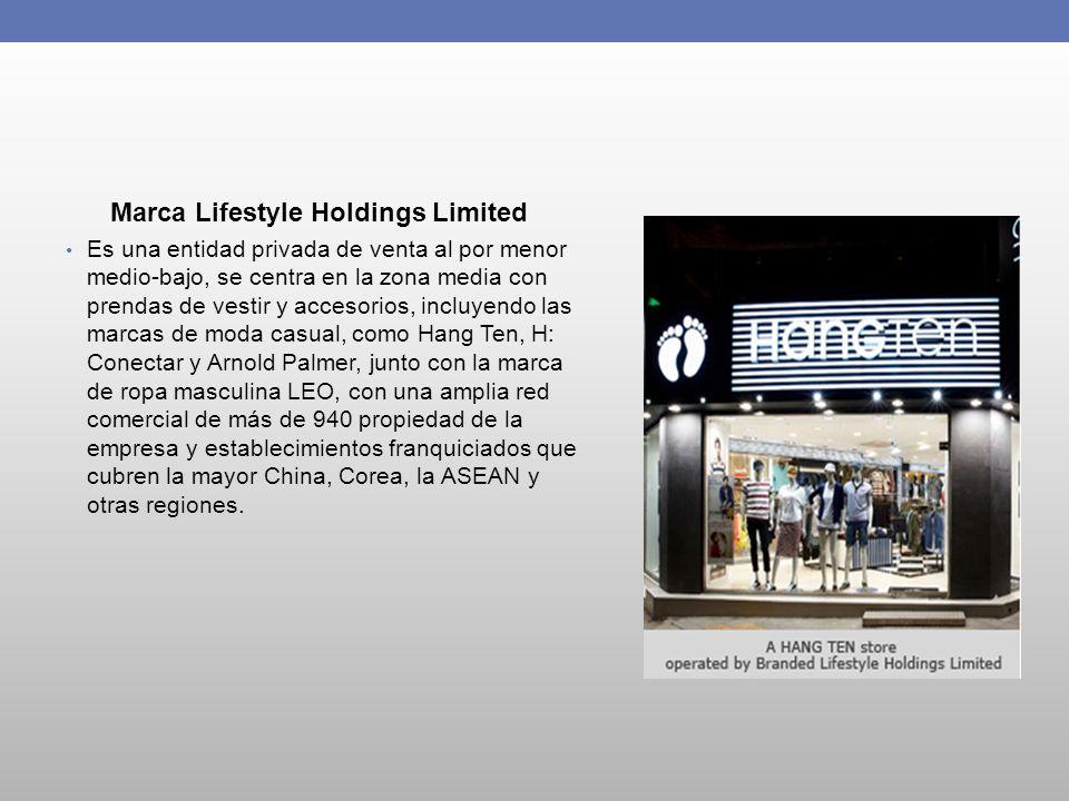 Marca Lifestyle Holdings Limited Es una entidad privada de venta al por menor medio-bajo, se centra en la zona media con prendas de vestir y accesorio