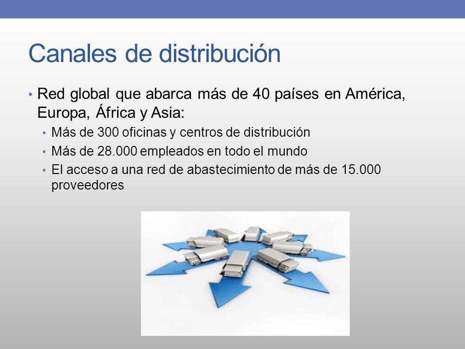 Canales de distribución Red global que abarca más de 40 países en América, Europa, África y Asia: Más de 300 oficinas y centros de distribución Más de