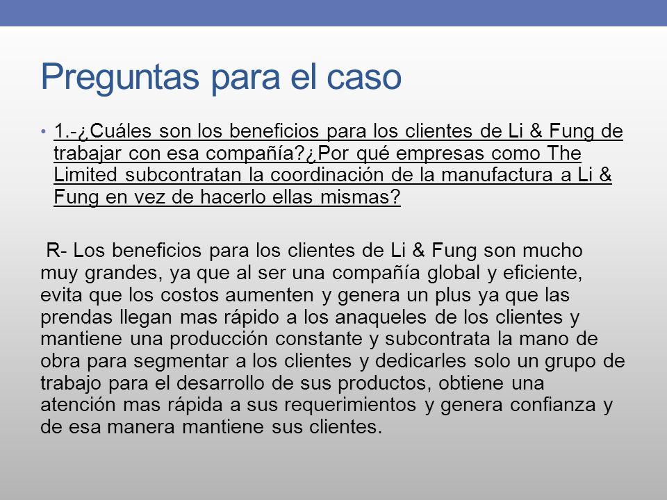 Preguntas para el caso 1.-¿Cuáles son los beneficios para los clientes de Li & Fung de trabajar con esa compañía?¿Por qué empresas como The Limited su