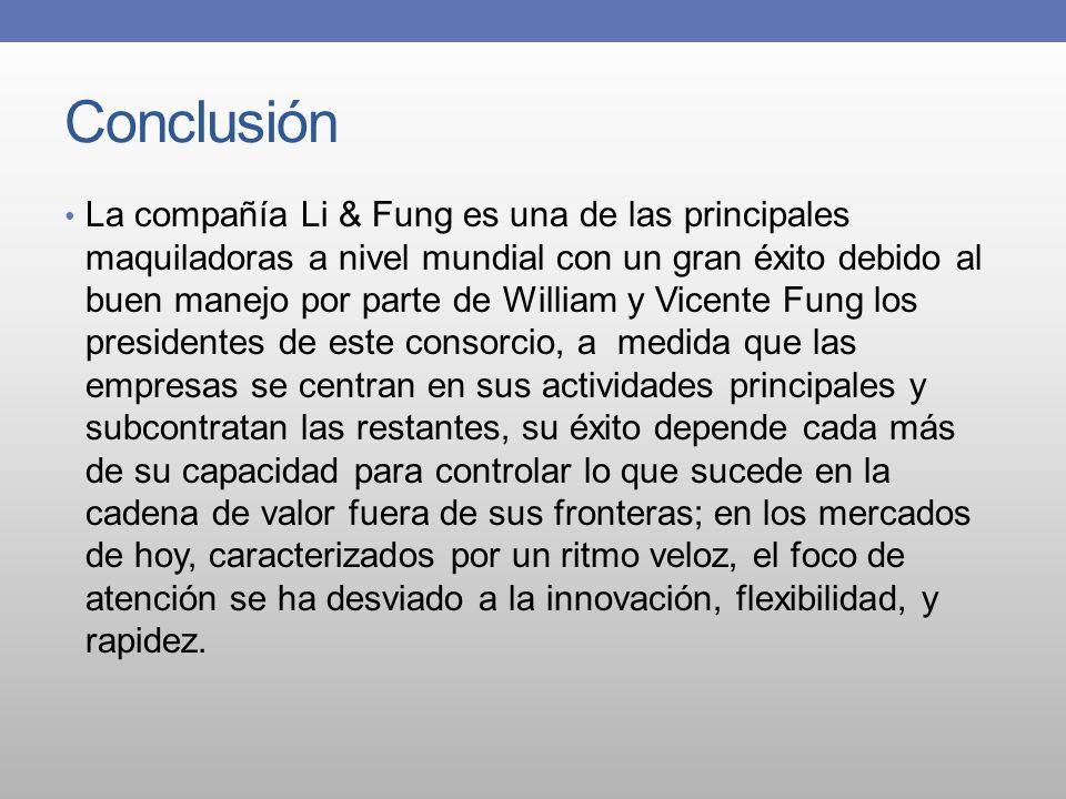 Conclusión La compañía Li & Fung es una de las principales maquiladoras a nivel mundial con un gran éxito debido al buen manejo por parte de William y
