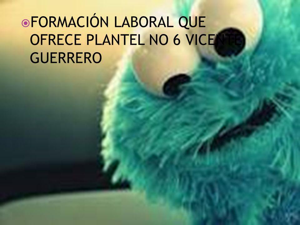 FORMACIÓN LABORAL QUE OFRECE PLANTEL NO 6 VICENTE GUERRERO